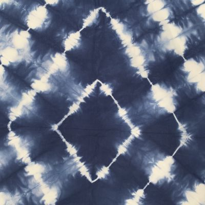 Hand Dyed Shibori Cotton Fabric - Diamond Lines On Blue