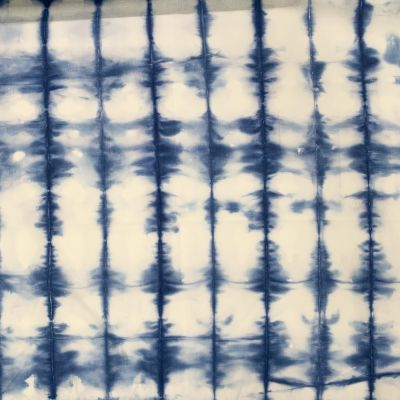 Hand Dyed Shibori Cotton Fabric - Vertical Blocks Blue