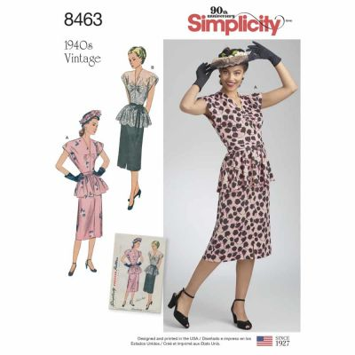 Simplicity Sewing Pattern 8463 Women_s Vintage Two Piece Dress