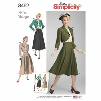 Simplicity Sewing Pattern 8462 Women_s Vintage Blouse, Skirt and Lined Bolero