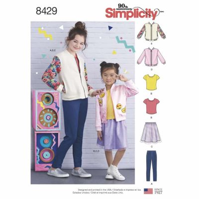 Simplicity Sewing Pattern 8429  Child's & Girls' Bomber Jacket, Skirt, Leggings and Top