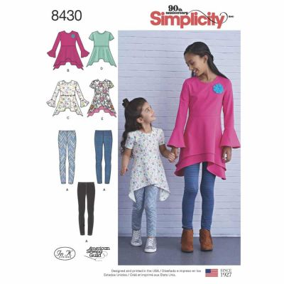 Simplicity Sewing Pattern 8430  Child and Girls Knit Tunics in Two Lengths and Leggings