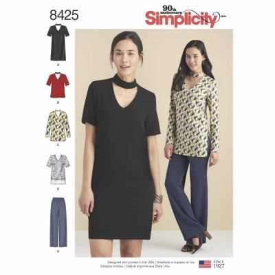 Simplicity Sewing Pattern 8425  Misses & Petite Choker Collar Dress, Tunic and Top with Pants