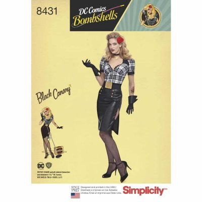 Simplicity Sewing Pattern 8431  Misses DC Bombshell Black Canary Costume