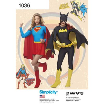 Simplicity Sewing Pattern 1036 - Womens Supergirl and Batgirl Costumes