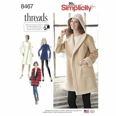 Simplicity Sewing Pattern 8467 Women_s Coat or Jacket with Neckline Variations