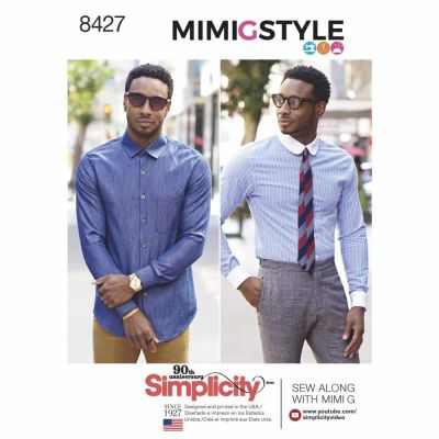 Simplicity Sewing Pattern 8427  Men's Fitted Shirt with Collar & Cuff Variations by Mimi G