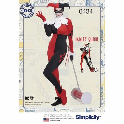 Simplicity Sewing Pattern 8434  Misses Knit DC Bombshell Harley Quinn Costume