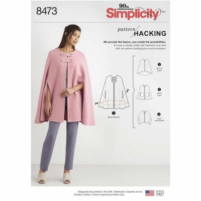 Simplicity Sewing Pattern 8473 Women_s Capes with Options for Design Hacking