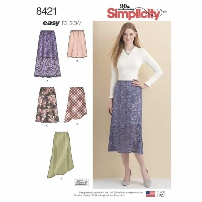 Simplicity Sewing Pattern 8421  Misses' Skirts in Three lengths with Hem Variations