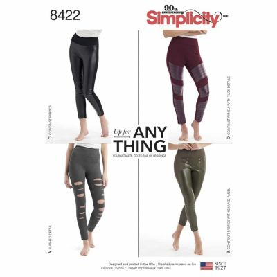 Simplicity Sewing Pattern 8422  Misses' Knit Leggings with Front Varaitions