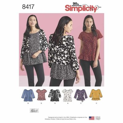 Simplicity Sewing Pattern 8417 Misses' Pullover Tops with Sleeve and Fabric Variations