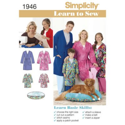 Simplicity Sewing Pattern 1946 Learn to Sew Childs Teens & Adults Robe