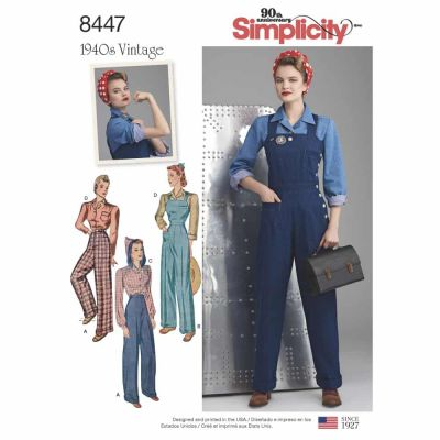 Simplicity Sewing Pattern 8447 Misses' Vintage Pants, Overalls and Blouses