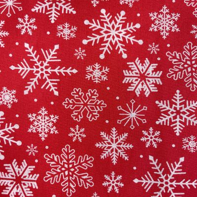 Christmas Polycotton Fabric - Snowflakes On Red