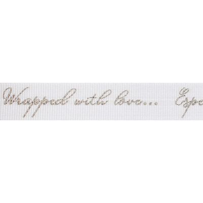 Berisfords Ribbon - Sparkle With Love - 16mm Wide - White / Silver