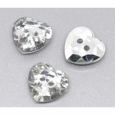 Sparkly Heart Buttons 15mm - Pack of 10