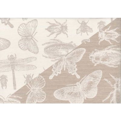 Remnant -Upholstery / Curtain Fabric - Bugs On Fawn - Reversible - 50 x 140cm