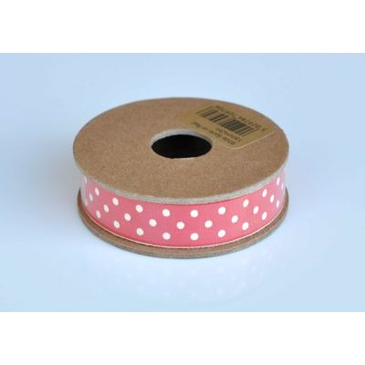 Christmas Ribbon 3m Reel - Ivory Spots On Red