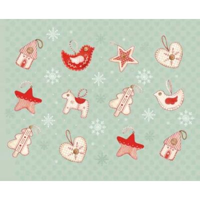 Studio E Love, Joy & Peace Mint Stitched Ornaments Cut Length
