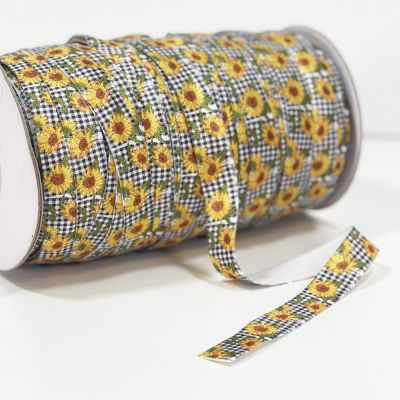Fold Over Elastic 16mm Wide - Sunflowers On Black Gingham - Per Metre