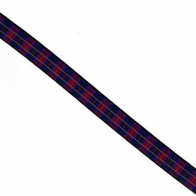 Red Green Tartan Woven Elastic 25mm wide