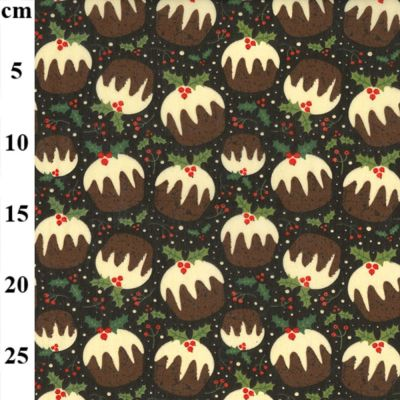 Polycotton - Christmas Puddings On Chocolate Brown