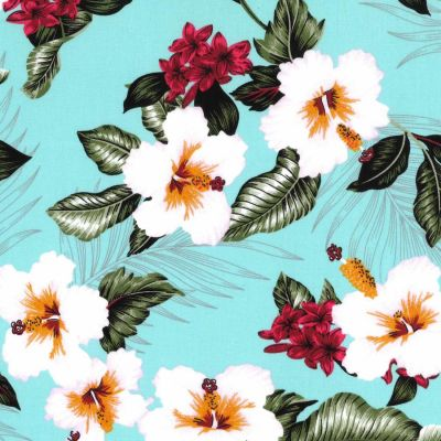 Stretch Cotton Fabric - Tropical Flowers On Aqua
