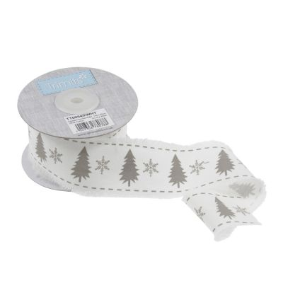 Frayed Edge Cotton Ribbon - Christmas Tree & Snowflakes - 45mm Wide