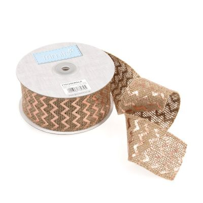Metallic Hessian Christmas Trim - Rose Gold Chevrons - 50mm