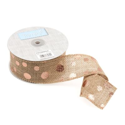 Metallic Hessian Christmas Trim - Rose Gold Dots - 50mm