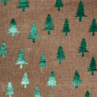 2m Roll of Christmas Hessian Fabric - Green Trees