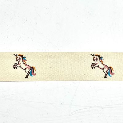 Novelty Natural Ribbon - Unicorns - 25mm
