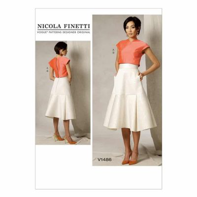 Vogue Sewing Pattern V1486 Misses' Crop Top and Flared Yoke Skirt
