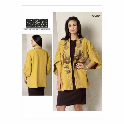 Vogue Sewing Pattern V1493 Misses' Tulip Banded-Sleeve Kimono Jacket