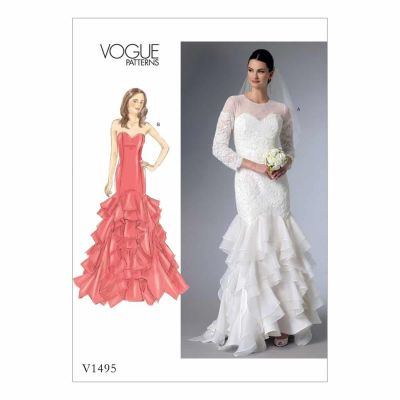 Vogue Sewing Pattern V1495 Misses'/Misses' Petite Sweetheart-Neckline Gowns with Flounces