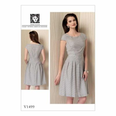 Vogue Sewing Pattern V1499 Misses' Cap Sleeve, Pleated-Skirt Dress