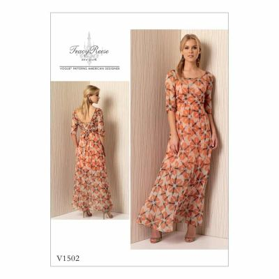 Vogue Sewing Pattern V1502 Misses' Dress with Back-V, Inset and Ties