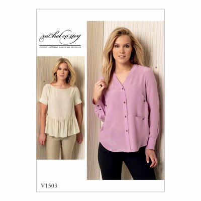 Vogue Sewing Pattern V1503 Misses' Front-Ruffle or Pocket-Detail Top