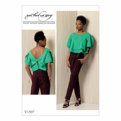 Vogue Sewing Pattern V1507 Misses' Layered Back-Tie Top and Asymmetrical-Zip Pants
