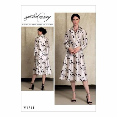 Vogue Sewing Pattern V1511 Misses' Half-Placket, Long Sleeve Shirtdress