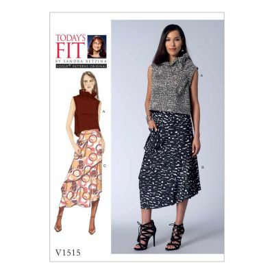 Vogue Sewing Pattern V1515 Misses' Ruffle-Neck Top and Asymmetrical Skirts
