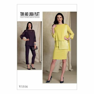 Vogue Sewing Pattern V1516 Misses' Batwing or Layered-Overlay Tops, Pencil Skirt and Pants