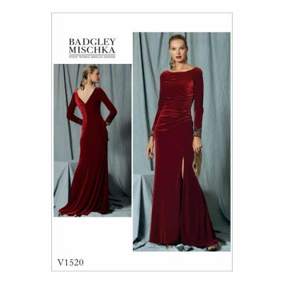 Vogue Sewing Pattern V1520 Misses' Side-Gathered, Long Sleeve Dress with Beaded Cuffs