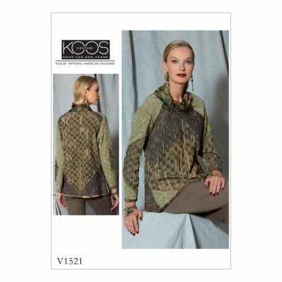 Vogue Sewing Pattern V1521 Misses' Cowl-Neck, Front-Fringe Top