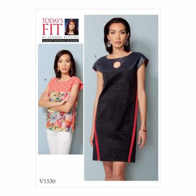 Vogue Sewing Pattern V1530 Misses' Dress and Top with Yokes and Bands