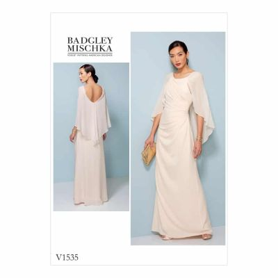 Vogue Sewing Pattern V1535 Misses' Pleated and Ruched Dress with Attached Cape