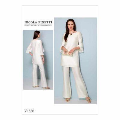 Vogue Sewing Pattern V1538 Misses' Ruffle-Sleeve Tunic and Bootcut Jumpsuit