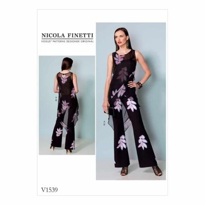Vogue Sewing Pattern V1539 Misses' Banded, Asymmetrical-Hem Tunic and Flared-Leg Jumpsuit