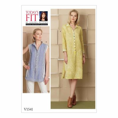 Vogue Sewing Pattern V1541 Misses' Loose-Fitting Dress and Shirt with Button-Front Placket